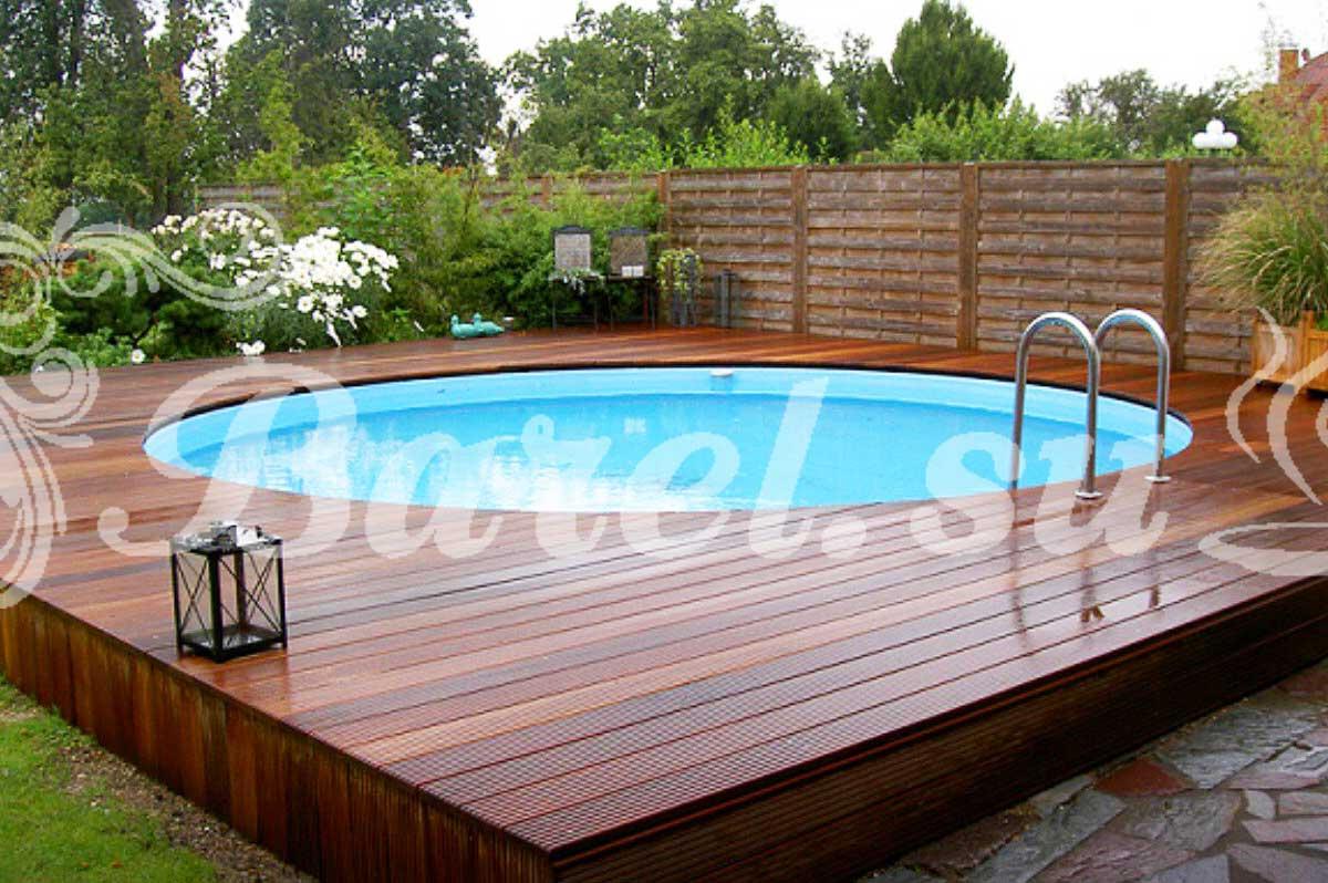 круглый бассейн для дачи с пластиковой вставкой фото, фотография, картинка, изображение, посмотреть.